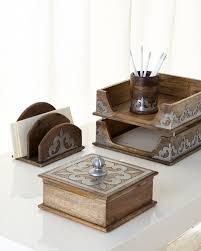 gg collection heritage wooden stacking tray with metal inlays