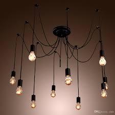 black spider chandelier lamp vintage retro pendant lamps e27 e26 edison creative loft art decorative diy chandelier light copper pendant light kitchen