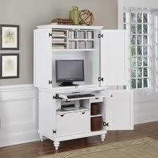 secretary desk with lots of file storage drawers in white wood finish