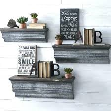 galvanized wall shelf metal and wood floating shelves set of 3