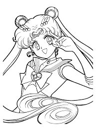 Sailormoon Anime Girl Coloring Pages To Print | Cartoon Coloring ...