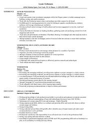 Web Editor Resume Samples Velvet Jobs