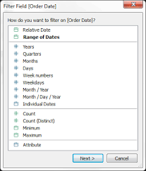 when you drag a date field from the data pane to the filters shelf in tableau desktop the following filter field dialog box appears