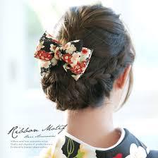 楽天市場髪飾り 黒 ブラック リボン 雪輪 桜 古典柄 縮緬 シンプル