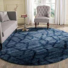 retro blue dark blue 8 ft x 8 ft round area rug