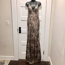 Abyss By Abby Sequin Taupe Backless Gown Train