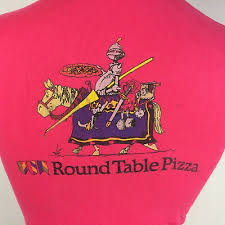 details about rare vtg 70s 80s round table pizza delivery uniform t shirt cartoon california