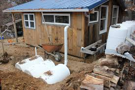 tiny house water system. Brian Cut A Hole Into The Top Of One Barrels For Downspout, Another To Extract Water Tiny House System