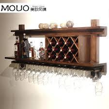 stunning wood wall mounted wine glass rack cooler modern bar hanging wooden holder under cabinet wo wine glass holder