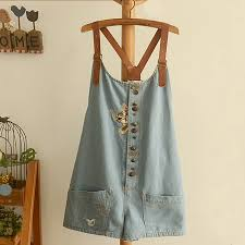 Casual Short Blue Jean Rompers Cat Embroidery Jumpsuits For ...