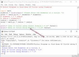 python program to calculate area of a circle using diameter