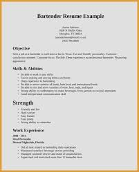 Skills And Abilities On A Resume Awesome Bartender Cv Sample