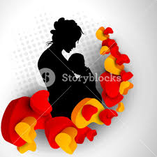 hearts silhouette silhouette of a mother and child with hearts on grey abstract