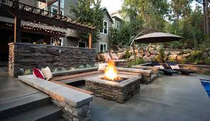 Patio How To Build Concrete Patio Ideas With Square Fire Pit And