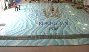 Decorative Pool Tiles With Glass Mosaic Pool Waterline Combines