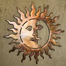 moon face wall metal art hanging with