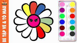 Bé tập vẽ bông hoa đơn giản và Tô màu cầu vồng đẹp lung linh - YouTube