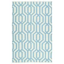 blue and white striped flat weave rug indoor outdoor ivory spa 9 x