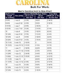 Cowboy Boot Fitting Chart Carolina Size Charts