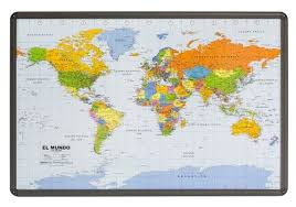 High Quality World Map World Map Politically Spanish As Cork Pinboard With Aluminum Frame 90 X 60cm