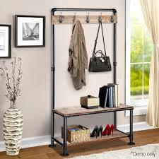 extraordinary shoe rack and coat hanger artiss rustic hook stand clothes vintage bench wardrobe seat storage