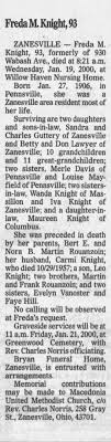 Obituary for Freda M. Knight, 1906-2000 (Aged 93) - Newspapers.com