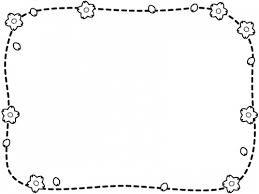 桜と点線の白黒フレーム飾り枠イラスト 無料イラスト かわいいフリー