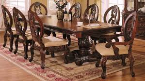 long wood dining table: formal dining room decor dark brown finishing long wooden dining table traditional style dining chairs designed