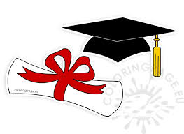 graduation hat rolled diploma clipart coloring page share