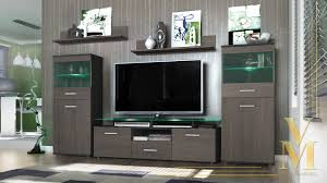 modern wall unit tv stand media entertainment center almada black