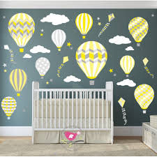 hot air balloon jets wall stickers yellow and grey nursery decor on yellow and grey wall art nursery with hot air balloon jets wall stickers yellow and grey nursery decor