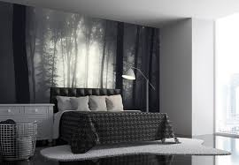bedroom wall decorating ideas. Misty Forest Photo Wallpaper, In Black And White, Inside A Room Decorated Different Bedroom Wall Decorating Ideas