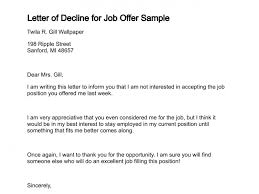 Acceptance Letter For Job Extraordinary Letter To Decline A Job Offer After Accepting Job Letter