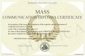 mass communication diploma certificate