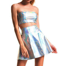 <b>Women</b> Holographic Strapless Tops <b>Mini Skirts</b> Two Piece <b>Set</b> ...