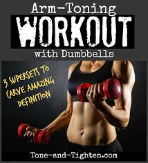 the exercises are designed to tone and tighten your arms with dumbbells you ll also get an extra boost from some added cardio moves as well
