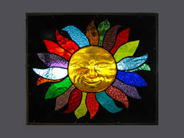 smiling 3d sun stained glass window panel ebsq artist phil petersen