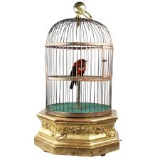 Antique Hexagonal Base Single Singing Bird in Cage by Bontems For Sale at  1stdibs