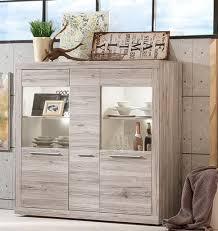 Vitrine Schrank Sand Eiche Und Weiß Wohnzimmer Esszimmer