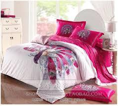 aliexpress com pea bird print hot pink comforter bedding set queen king size