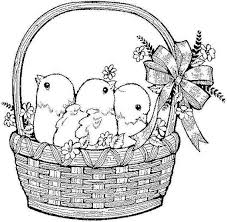 Small Picture Vintage Easter Coloring Pages Cute Easter Chicks In Basket