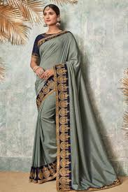 Grey Color Designer Blouse Grey Color Party Wear Saree In Fancy Fabric With Embroidery Work And Designer Blouse
