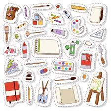 Sticker Design For Scrapbook Set Of Art Icons In Flat Design Vector Set Patch Sticker Scrapbook