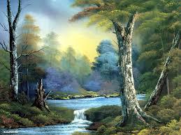 2 bob ross paintings