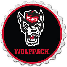 NC State Wolfpack Team Spirit Bottle Cap Wall Sign-Wolfpack on White