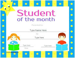 Student Of The Month Certificates Award Certificate Template Free Printable Star Student Best Council