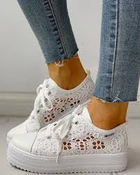 Colorblock <b>Eyelet</b> Hollow Out Lace-Up Sneakers joyshoetique ...