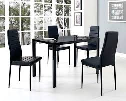 4 chair dining set glass dining table with 4 chairs set with black faux leather rectangle