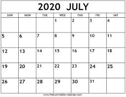 June July 2020 Calendar July 2020 Calendar Free Printable Calendar Com