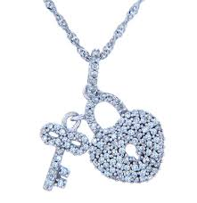 lock and key necklace in 10k white gold